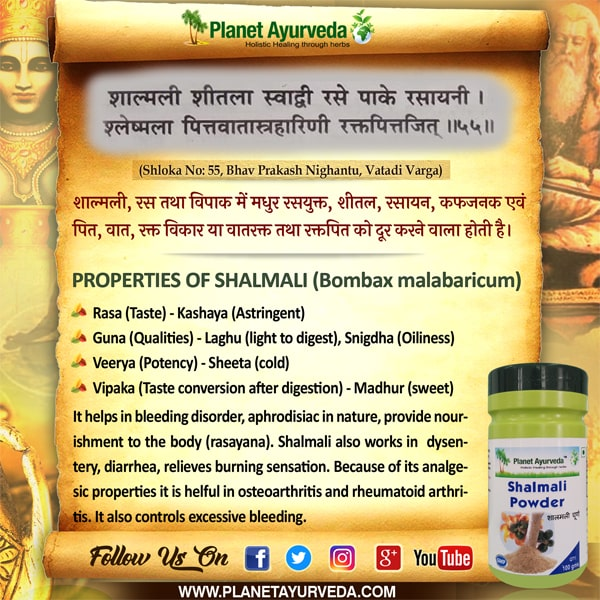 Authentic Ayurveda Information, Classical Reference of Shalmali